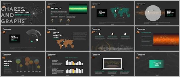 Шаблоны минимальной презентации. технические элементы на черном. научно-фантастическая технология