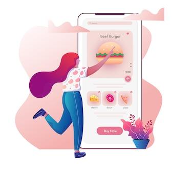 Женщина выбирает еду на иллюстрации заказа доставки еды онлайн