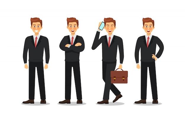 ビジネスの男性キャラクターデザイン。ベクトルイラスト。