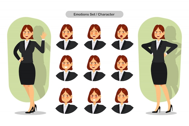 Набор бизнес женщина лица разных выражений. женщина эмодзи персонаж