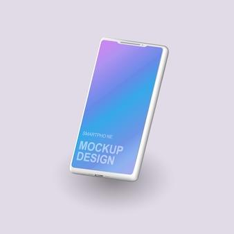 Пустой экран смартфона, макет телефона, шаблон для инфографики или дизайн интерфейса презентации