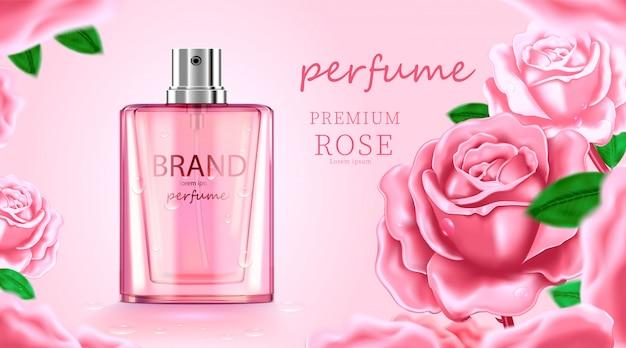高級化粧品ボトルパッケージスキンケアクリーム、バラの背景を持つ美容化粧品ポスター