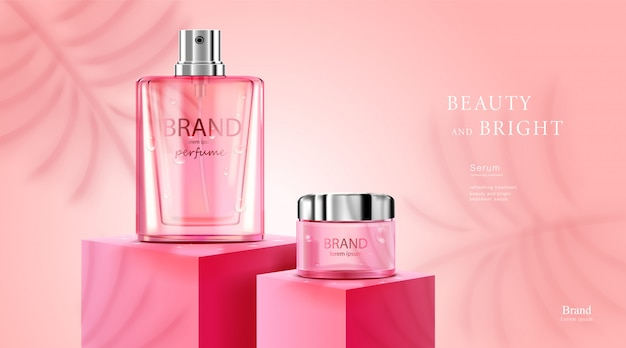高級化粧品ボトルパッケージスキンケアクリーム、ローズと白の色の背景を持つ美容化粧品ポスター