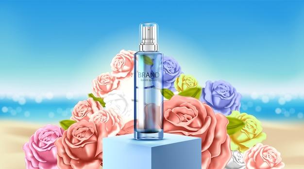 高級化粧品ボトルパッケージスキンケアクリーム、美容化粧品ポスター、バラとビーチの背景
