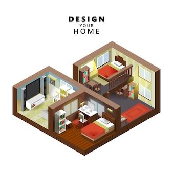 等尺性スタイルの家の屋内インテリアオープン透明な天井、創造的な建築情報グラフィック