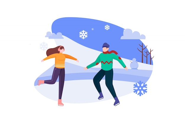 Пара на коньках в зимнюю ночь