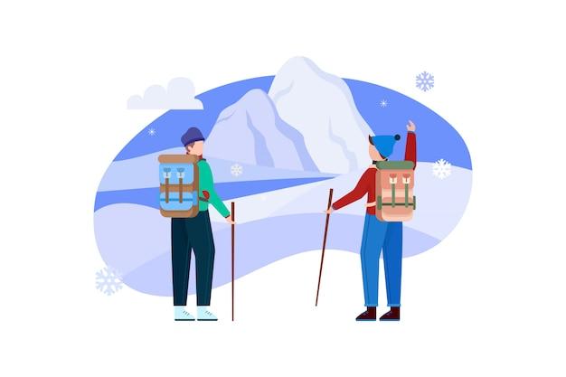 Люди, путешествующие пешком по снежной горе иллюстрация