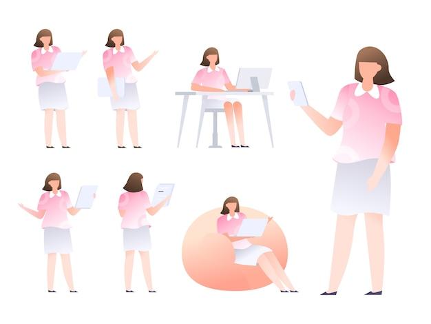 キャラクターデザインセットオフィススタートアップビジネスマン男性女性フラットスタイル