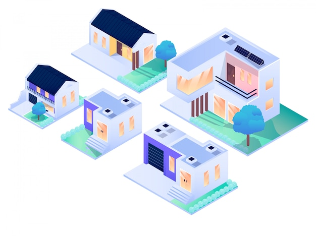 Дом резиденция городской интерьер экстерьер изометрические вектор дизайн иллюстрация