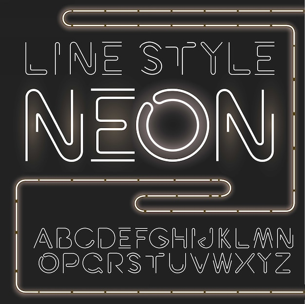線のスタイルのシンプルでミニマルなアルファベット