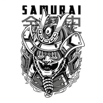 Самурайская маска черно-белая иллюстрация