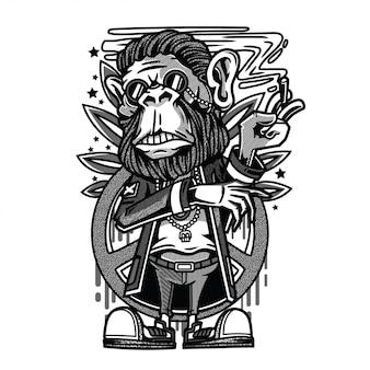 まったり猿黒と白のイラスト