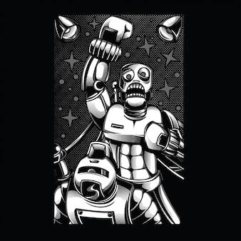 黒と白のイラストと戦うレトロなロボット
