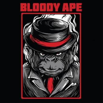 血まみれの猿イラスト