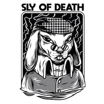 スライの死の黒と白のイラスト