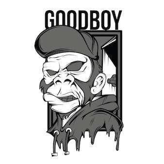 グッドボーイの黒と白のイラスト