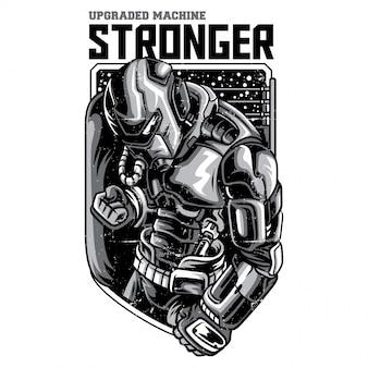 より強力なロボットの白黒イラスト