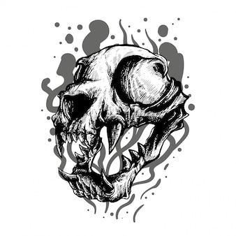 猫の頭蓋骨の黒と白のイラスト