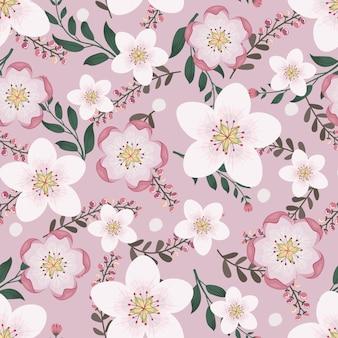 アパレルとファッションの生地に花のアートワーク、枝と葉を持つピンクの花の花輪アイビースタイル。シームレスパターンの背景。