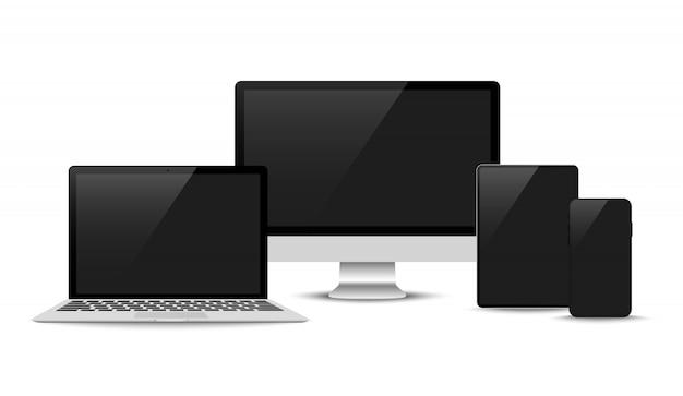 現実的なベクトル。デバイスセット:ラップトップ、タブレット、電話のテンプレートを監視する
