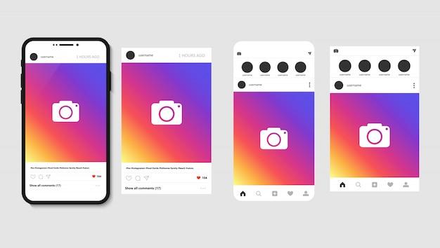 Смартфон и открытое социальное приложение с постом для фото, шаблон макета