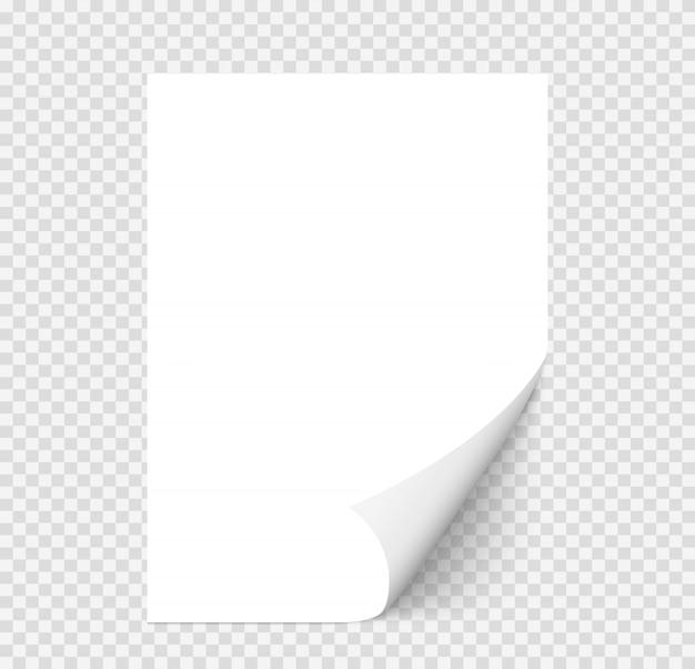 Белая реалистичная бумажная страница с загнутым уголком