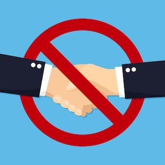 Нет рукопожатия для вируса в плоской конструкции. значок иллюстрации