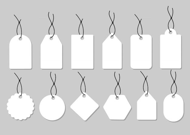 空白のラベルテンプレート。値札セット。図