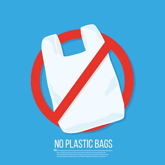 Нет пластикового пакета вектор плоский дизайн.