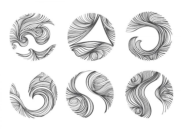 抽象的な風ラインセット。