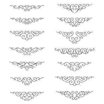 結婚式の古典的な曲線ラインアート。