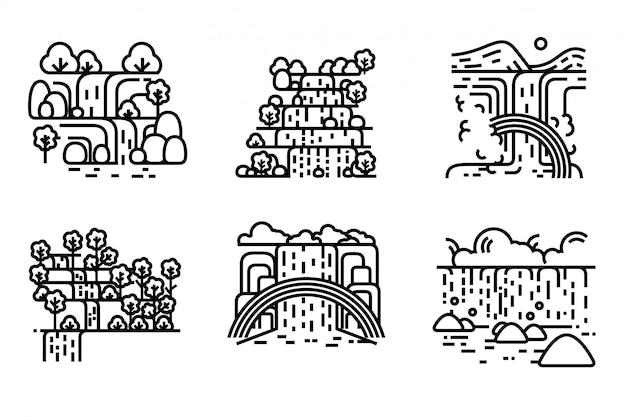滝のイラストセット。編集可能