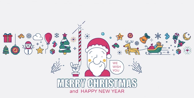 Санта-клаус и рождественские иконки цветные линии векторная иллюстрация