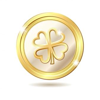Золотая монета с клевером.