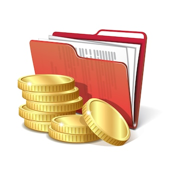 Стопка золотых монет рядом с папкой с документами