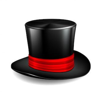 Черная цилиндровая шляпа с красной лентой