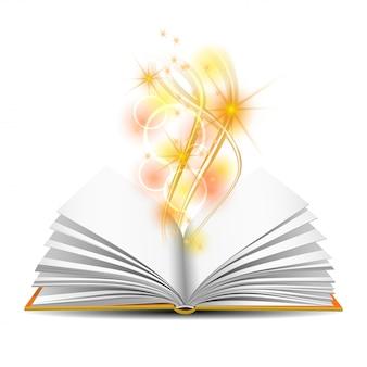 魔法の光で開かれた本