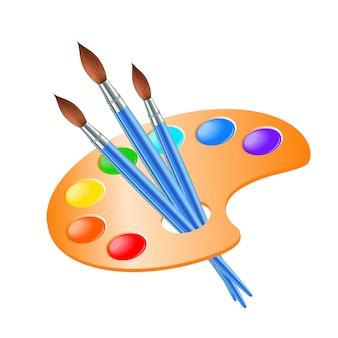 Художественная палитра с кистью для рисования