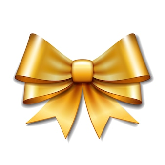 白い背景の上のゴールデンベクトルギフト弓。