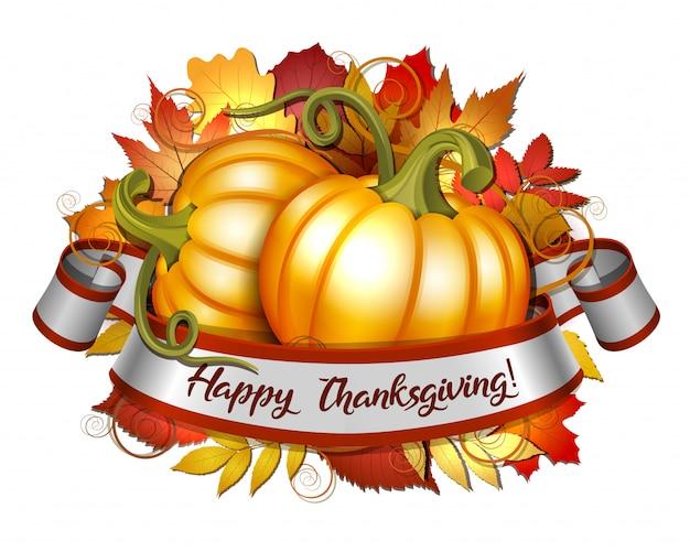幸せな感謝祭のレタリングとオレンジ色のカボチャのリボン