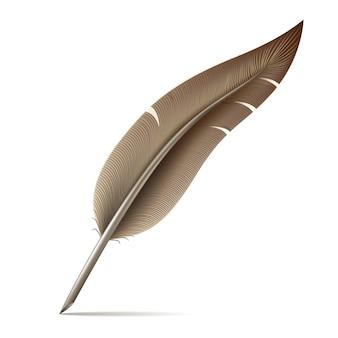 白い背景の上の羽ペンの画像
