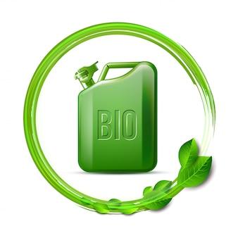 Зеленая канистра со словом био и зелеными листьями на белом фоне