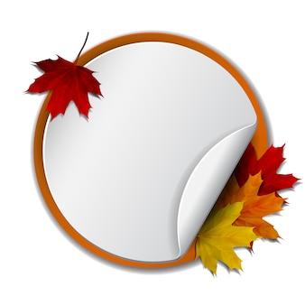 秋。秋の紅葉と丸いバナー。図