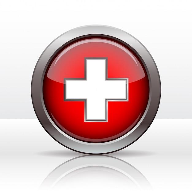 スイスの旗と明るいボタン。スイス建国記念日