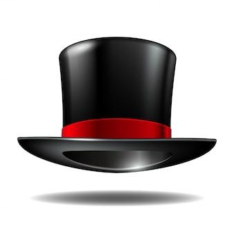 赤いリボンと黒の円柱帽子。白い背景の上の魔法の帽子。図