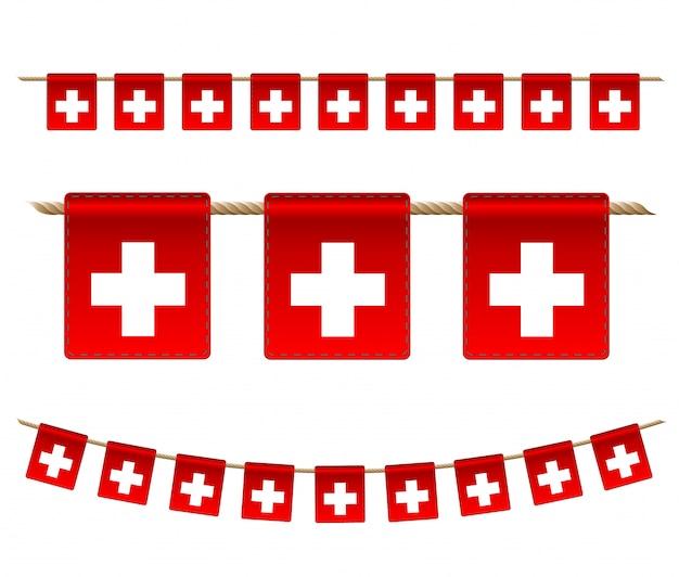 白い背景の上のスイスのガーランドフラグ、スイスのお祝いテンプレートのハンティングホオジロ