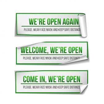 グリーンラベルのオープンサイン-おかえりなさい。再び働くことについてドアの正面の情報標識のセット。社会的距離を保ち、フェイスマスクを着用してください。白のイラスト。
