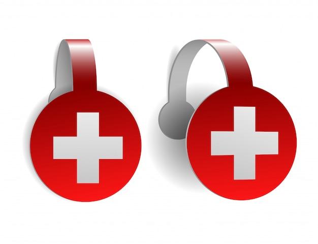 Яркий воблер с флагом швейцарии. швейцарский национальный день фон. яркая иллюстрация с флагом. иллюстрация на белом фоне.