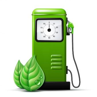 ガソリンポンプの燃料ノズルが付いている緑の明るいガソリンスタンドポンプ。白のリアルなイラスト。バイオ燃料のコンセプト