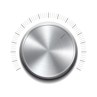 ボリュームボタン-金属の質感を持つ音楽ノブ。図
